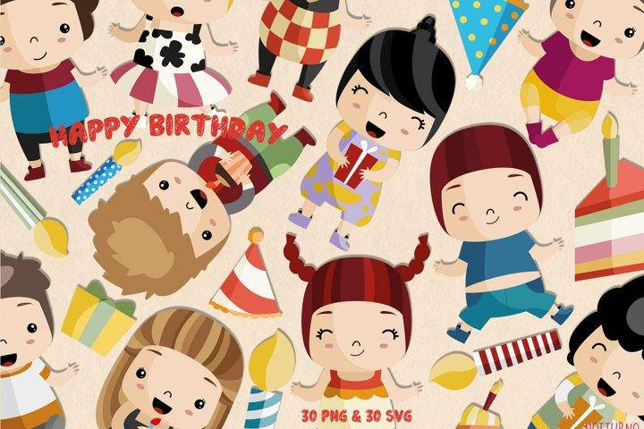 Birthday Clipart SVG | Set of 30|
