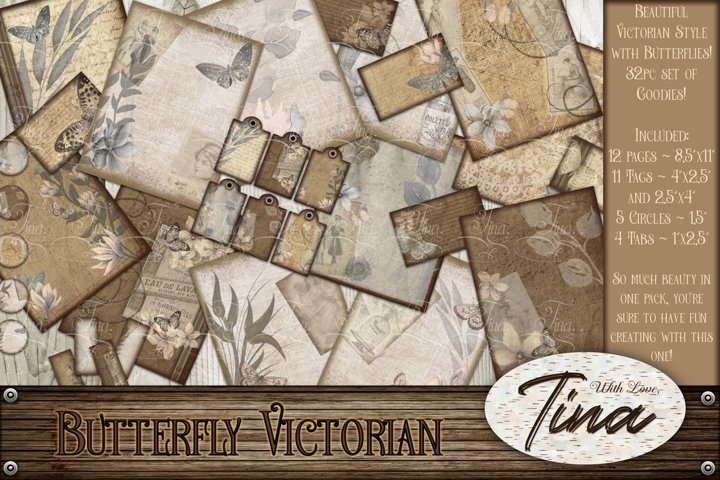 Butterfly Victorian Antique Collage Designs Tags and circles