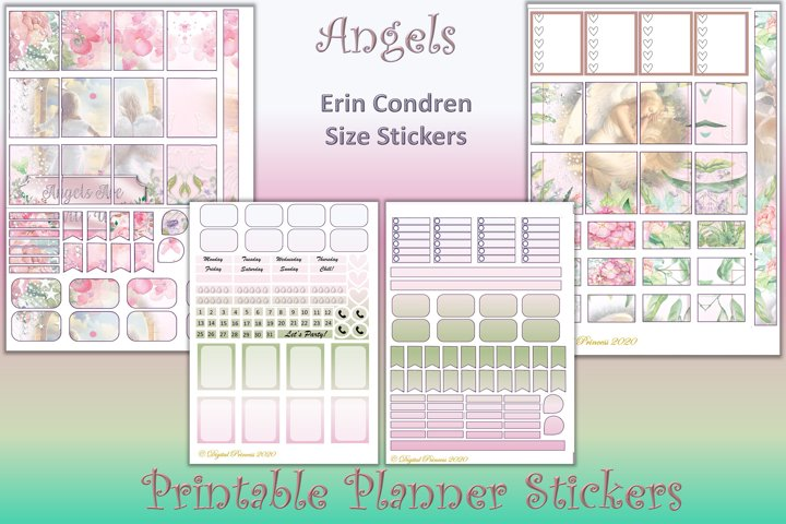 Planner Stickers Angels. 4 Sheets 200 stickers JPEG