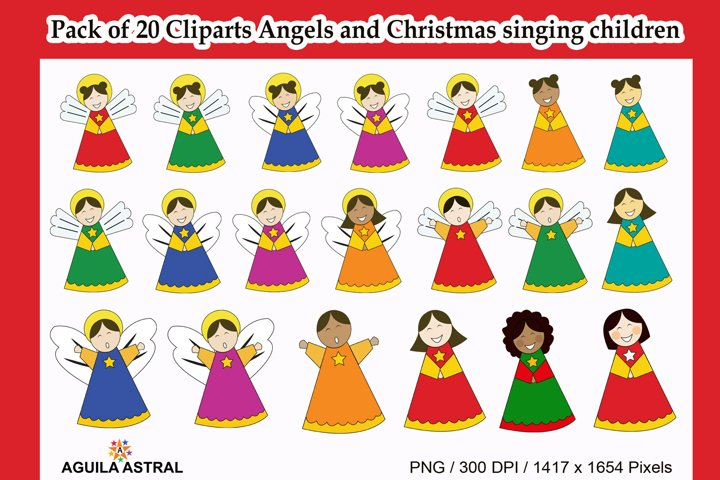 Pack of 20 Angels and Christmas singing children cliparts
