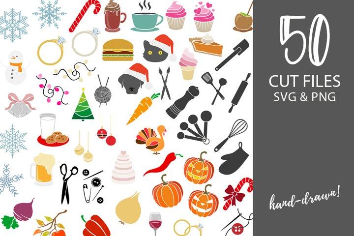 SVG cut file bundle   hand-drawn SVG clip art seasonal