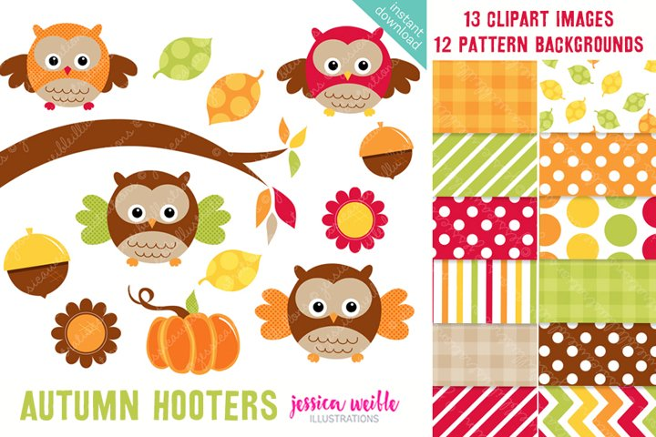 Autumn Hooters Clipart Graphics Collection