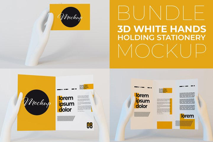 3D White Hands Holding Stationery Bundle Mockup