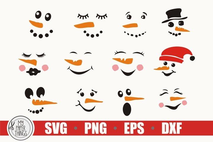 Snowman faces SVG Bundle