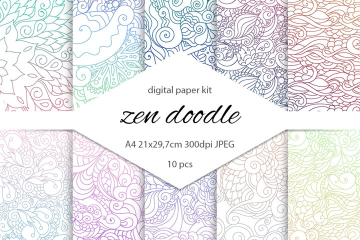 Zentangle inspired colorful digital scrapbooking paper