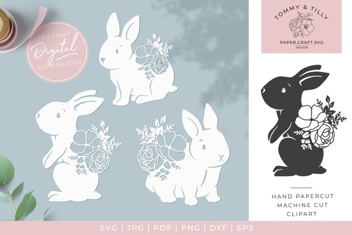 Floral Easter Rabbits x 3 - SVG DXF PNG EPS JPG PDF Cutting