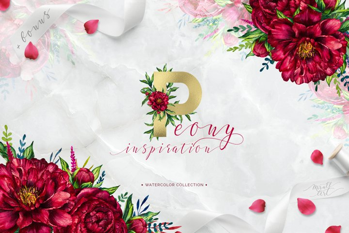 Peony inspiration - watercolor set