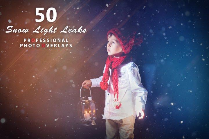 50 Snow Light Leaks Photo Overlays