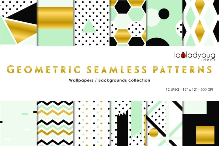 Golden, black, mint green geometric seamless digital papers