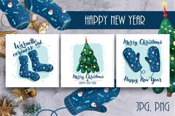 Cute new year illustrations. Christmas tree, mittens, socks