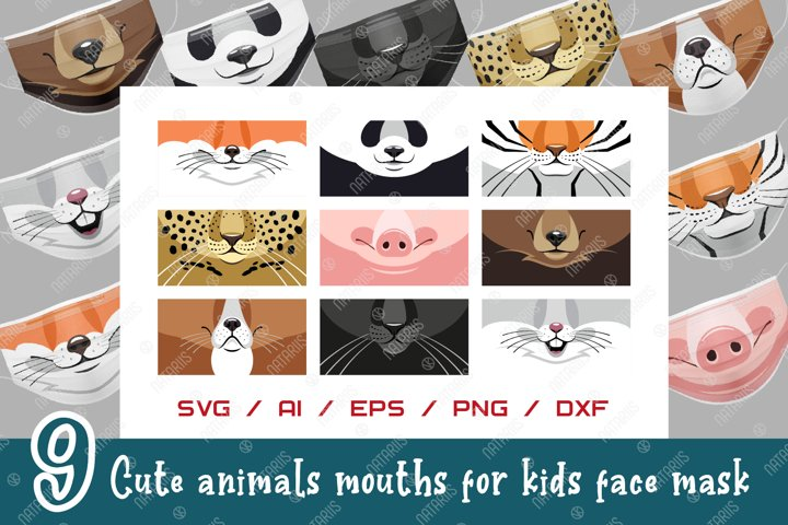 SVG Bundle. 9 Cute animals mouths for protective face mask.