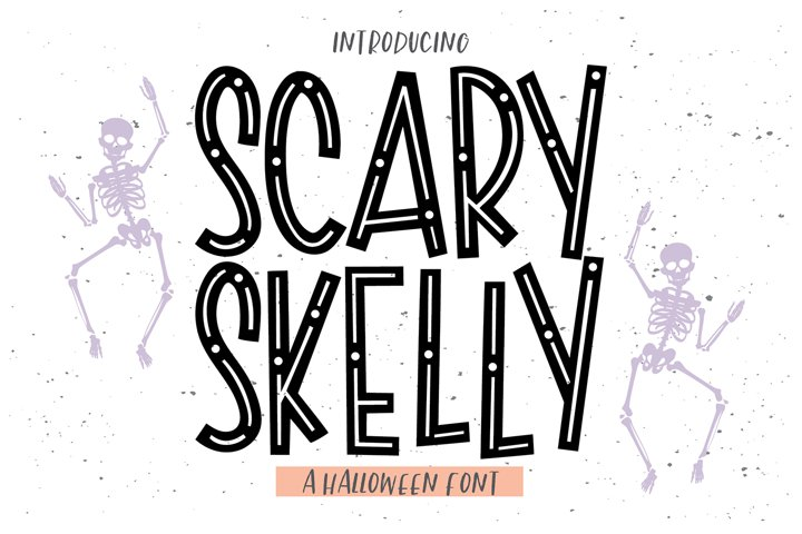SCARY SKELLY a Sans Halloween Font with Doodles