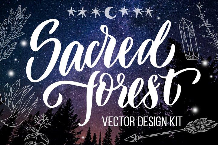 Sacred forest- big vector design kit