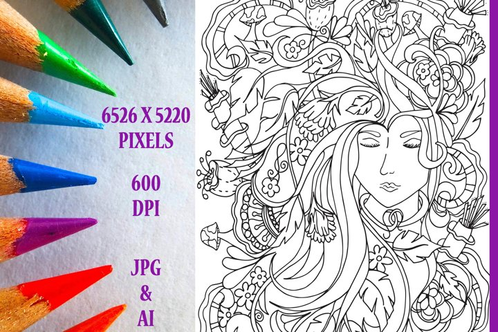 Mother Nature Coloring Book Page/Poster