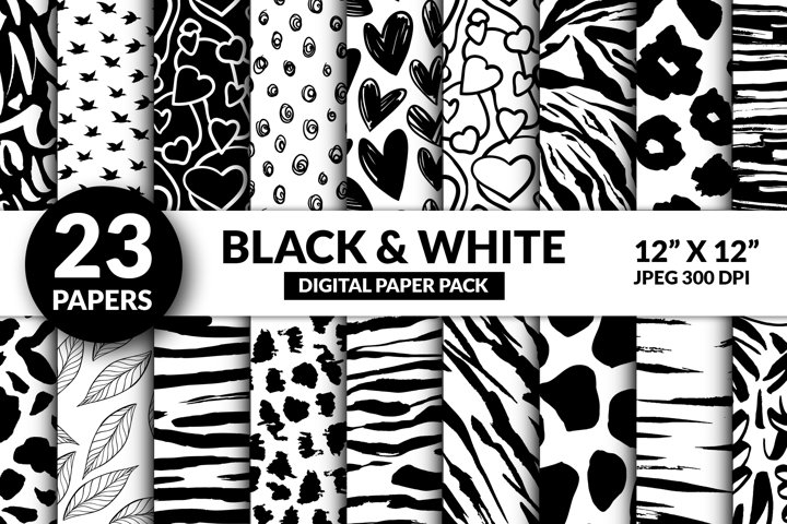 Cute Black and White Digital Paper, Modern Valentine Pattern