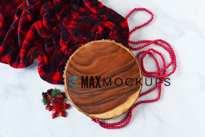 Round Wood sign mockup, Christmas flatlay, styled photograph