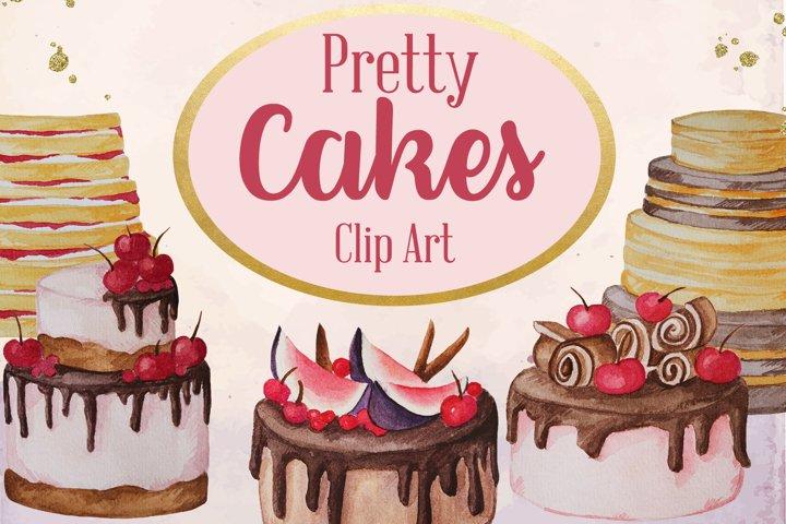 Pretty Cakes Watercolor Dessert Clip Art