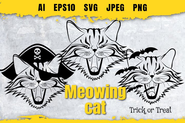 Various silhouettes of meowing Cat