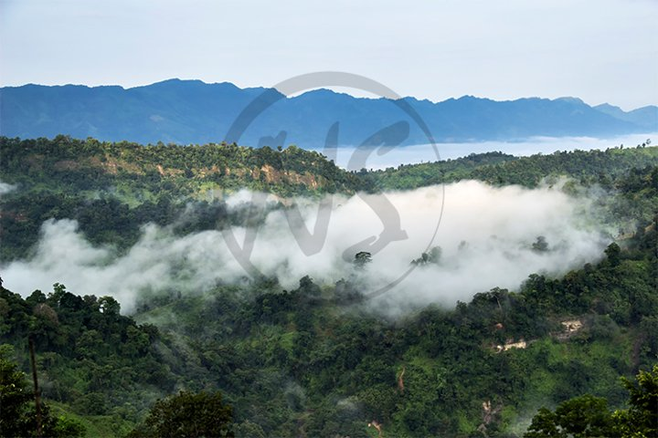 Mountain Valley in Cloud & Fog During Natural Landscape View