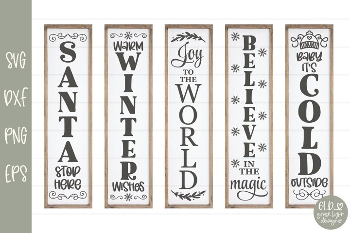 Christmas Sign Bundle VOL. 3 - 5 Vertical Christmas Designs