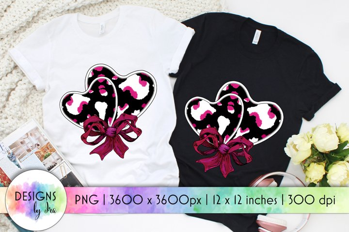 Hearts With Bow PNG   Valentines Day Print   Sublimation PNG