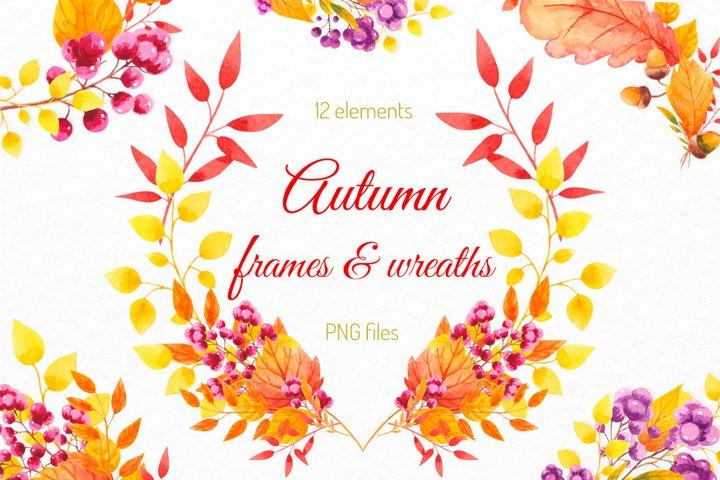 Fall decor clipart Watercolor autumn wreath Invitation decor