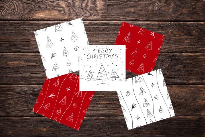 Christmas patterns, clipart & card. Christmas doodle bundle