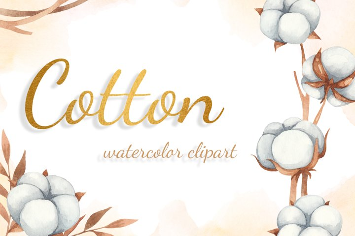 Autumn Cotton Watercolor Clipart