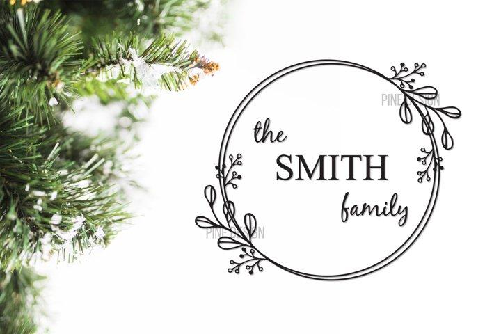 Monogram Wreath Family Sign | Custom Wreath Sign SVG