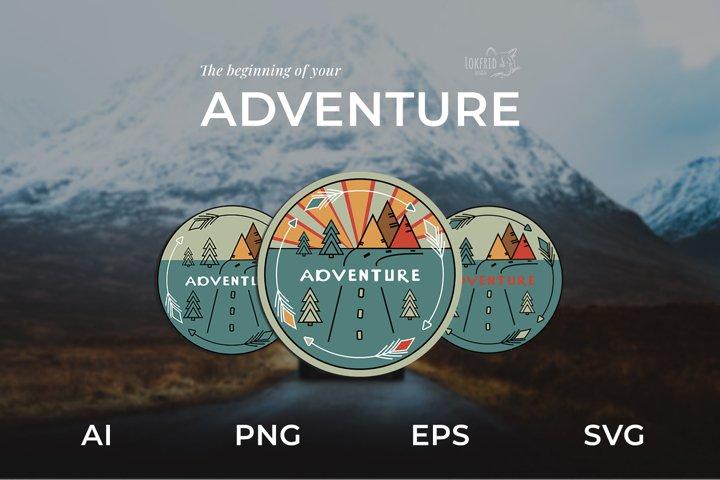 Adventure Graphic bundle. Three round logos in doodle style