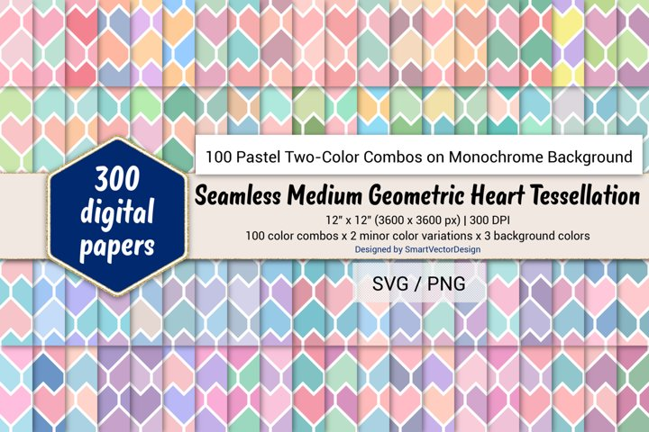 Geom Heart Tessellation - 100 Pastel Two-Color Combos on BG