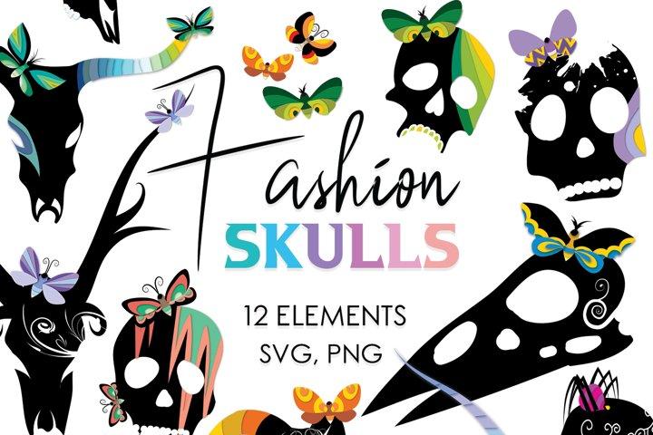 Goth, Skull, Skull Bundle, Horror, Skulls, Svg Files, Animal