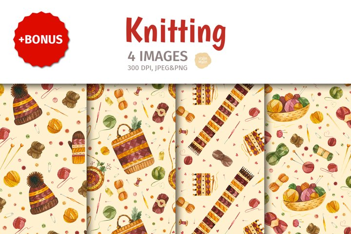 Watercolor Knitting and Knitwear. 4 Seamless patterns