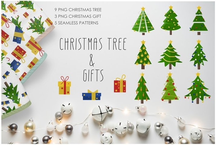 Set of vector Christmas tree and gifts.
