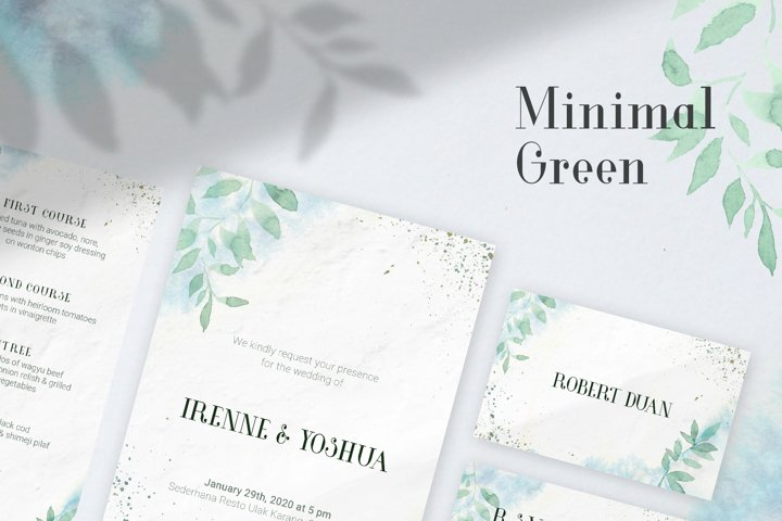 Minimal Green Watercolor Wedding Invitation