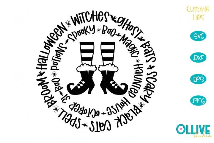Halloween Word Art Witch SVG