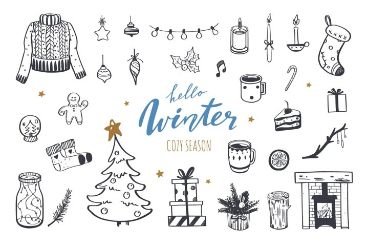 Merry Christmas and WInter mood doodle collection