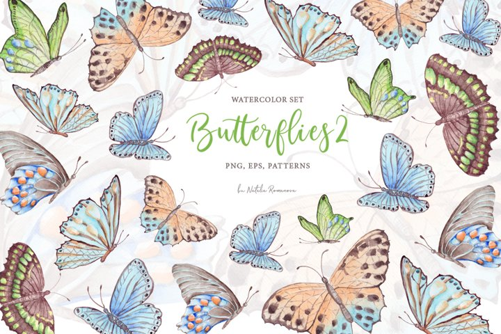 Watercolor butterflies 2