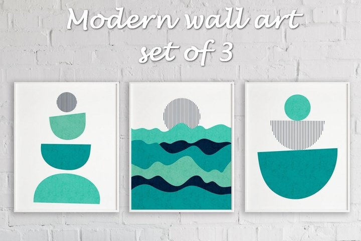 Modern Mid Century Wall Art With Geometric Shapes