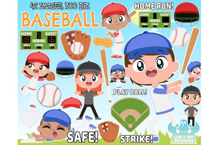 Baseball Clipart - Lime and Kiwi Designs