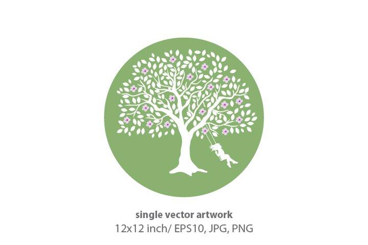 BLOOMING TREE SWING- single vector artwork