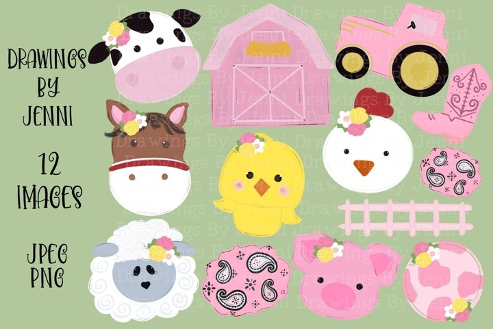 Pink Girls Barn Clipart