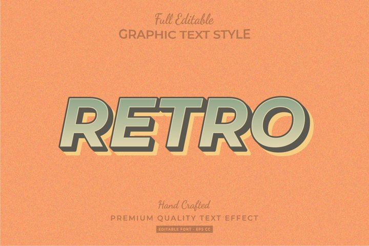 Retro Editable 3D Text Style Effect Premium