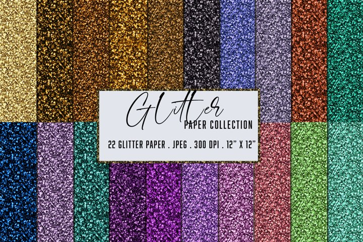 Glitter Paper Collection. Multi color sparkling glitter pack