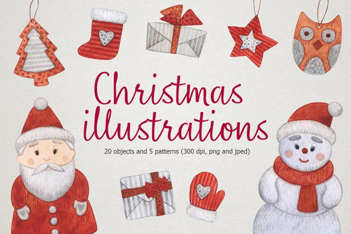 Watercolor christmas illustrations