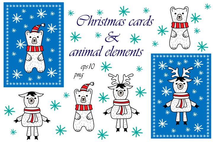 Cartoon xmas animals. Elements and cards