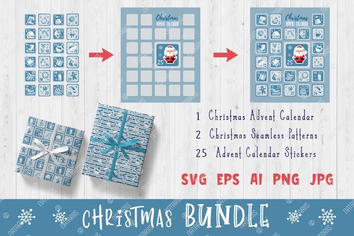 Silver Christmas Set with Christmas Advent Calendar.