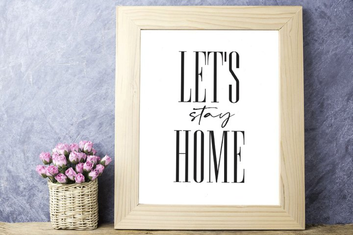 Lets Stay Home Print, Bedroom Printable, Lets Stay Home