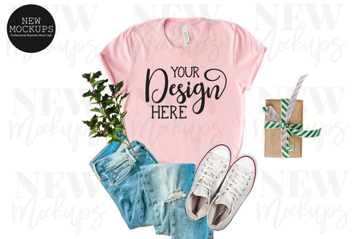 Christmas Pink Bella Canvas 3001 T-Shirt Mockup