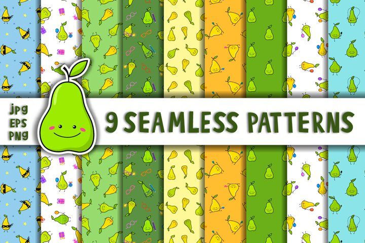 Pears seamless patterns